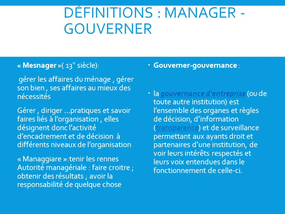 DÉFINITIONS : MANAGER - GOUVERNER