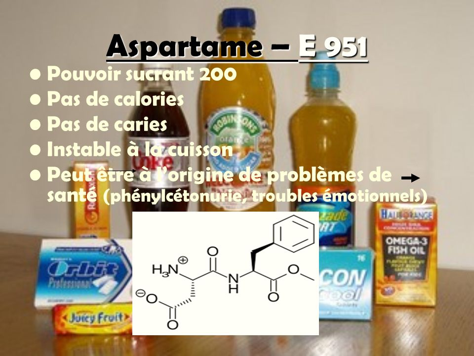Aspartame – E 951 Pouvoir sucrant 200 Pas de calories Pas de caries