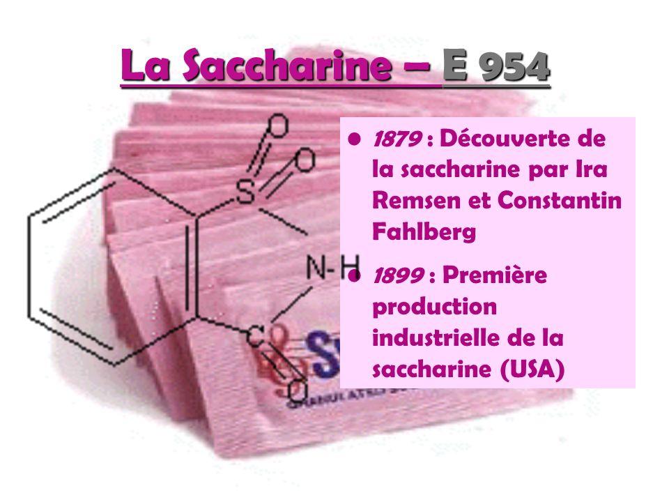 La Saccharine – E 954 1879 : Découverte de la saccharine par Ira Remsen et Constantin Fahlberg.