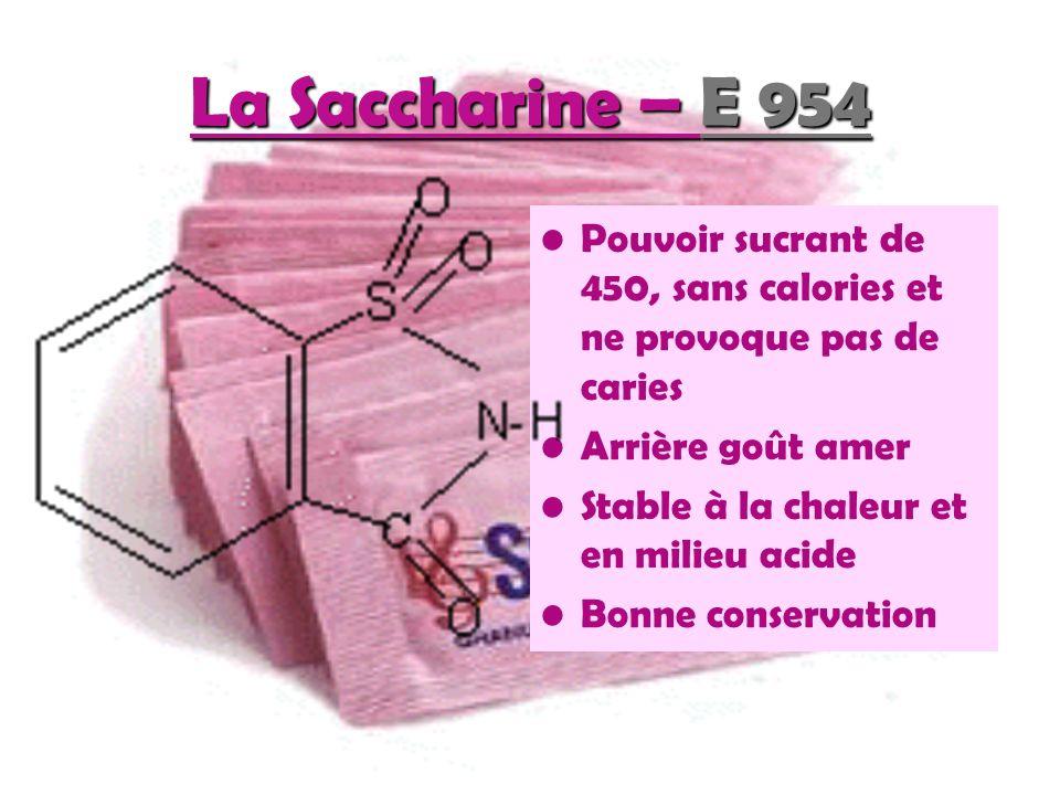 La Saccharine – E 954 Pouvoir sucrant de 450, sans calories et ne provoque pas de caries. Arrière goût amer.