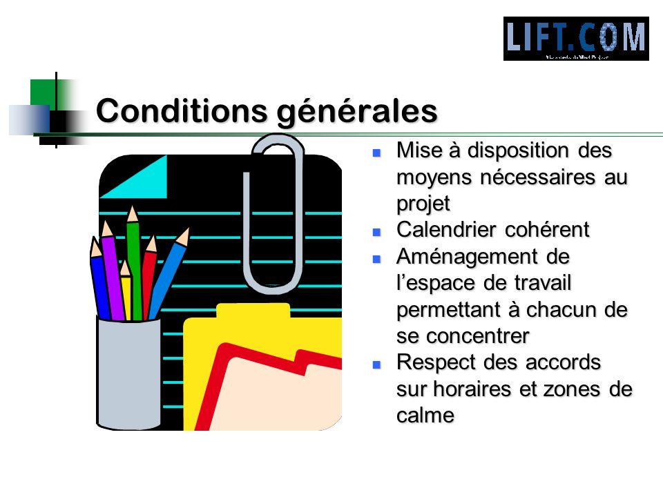 Conditions générales Mise à disposition des moyens nécessaires au projet. Calendrier cohérent.