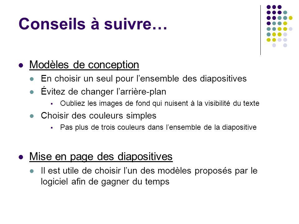Conseils à suivre… Modèles de conception Mise en page des diapositives