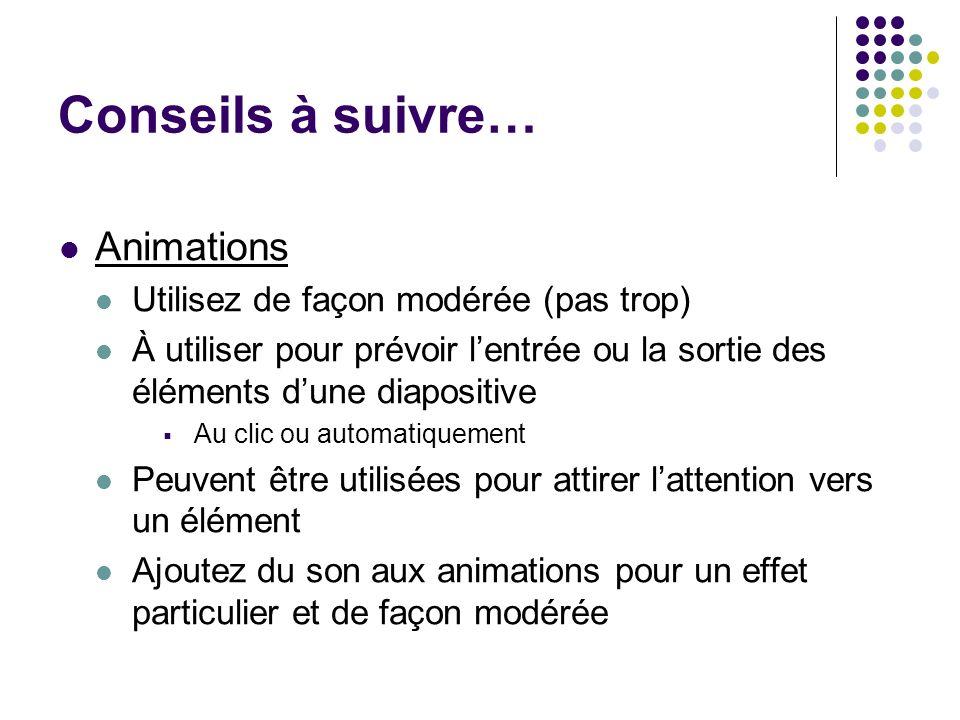Conseils à suivre… Animations Utilisez de façon modérée (pas trop)