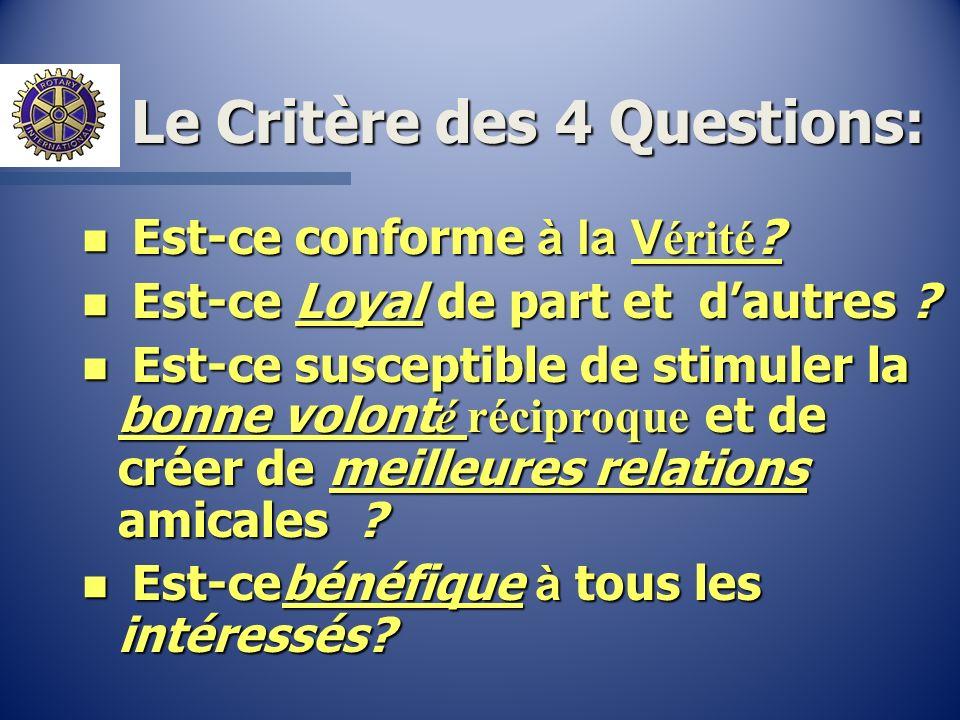 Le Critère des 4 Questions: