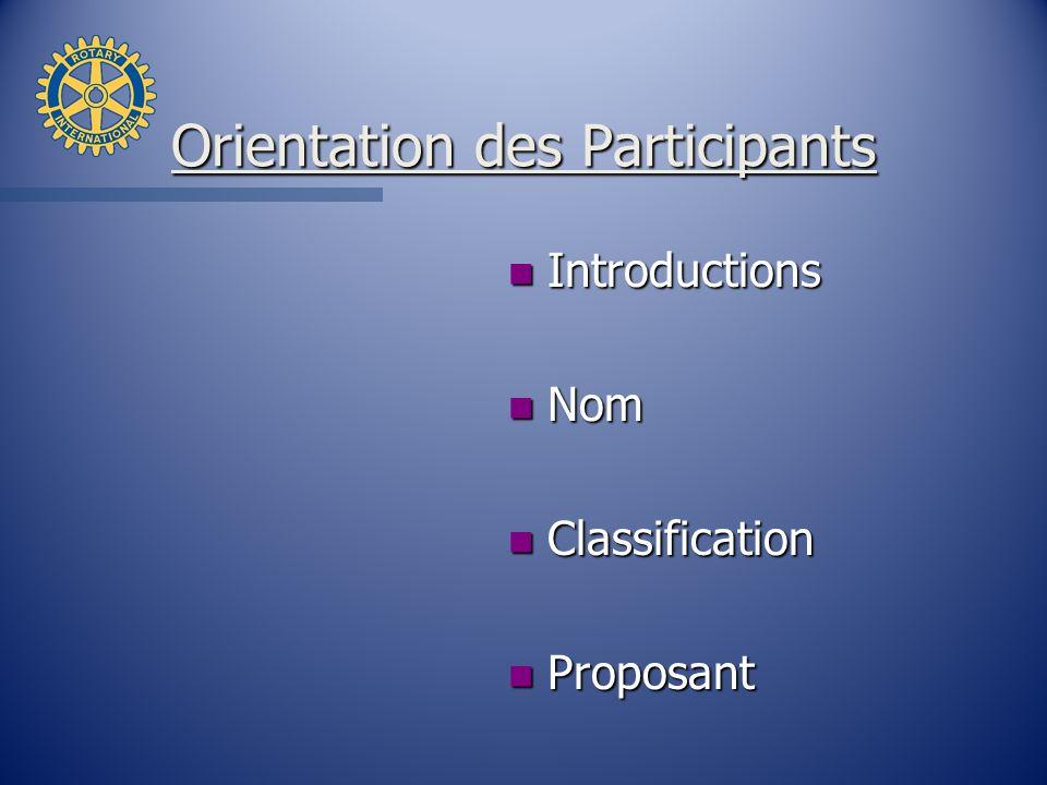 Orientation des Participants