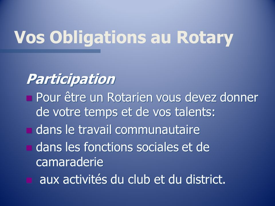Vos Obligations au Rotary