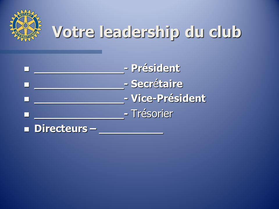 Votre leadership du club