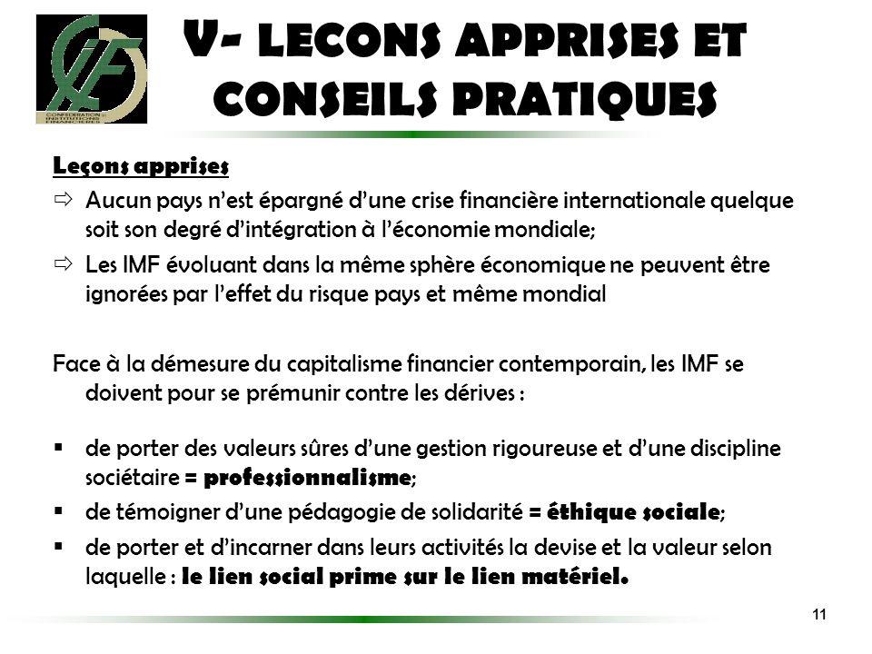 V- LECONS APPRISES ET CONSEILS PRATIQUES