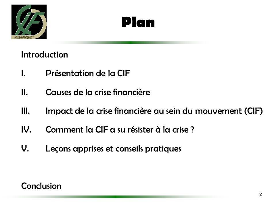 Plan Introduction Présentation de la CIF Causes de la crise financière