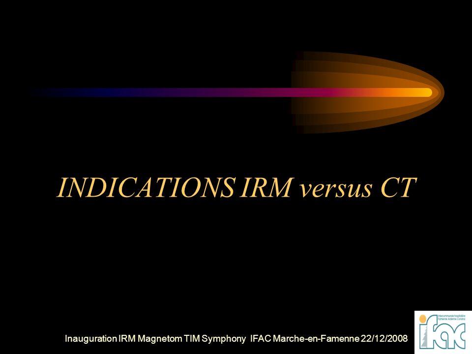 INDICATIONS IRM versus CT