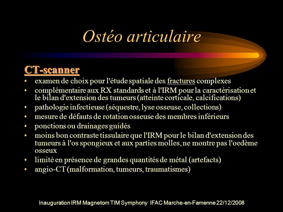 Ostéo articulaire CT-scanner