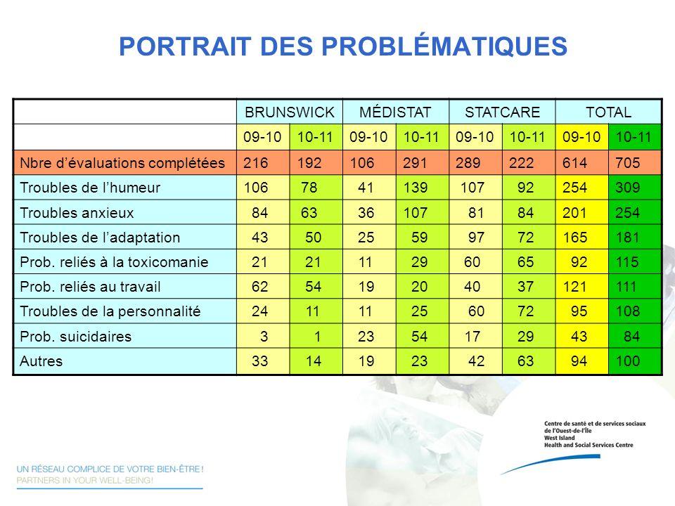 PORTRAIT DES PROBLÉMATIQUES