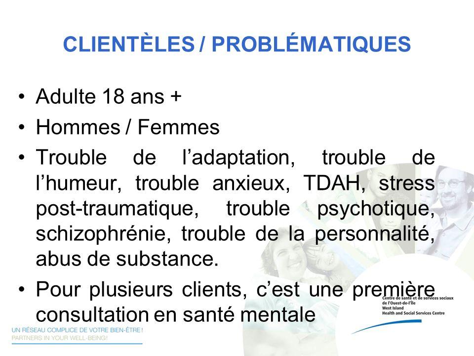 CLIENTÈLES / PROBLÉMATIQUES