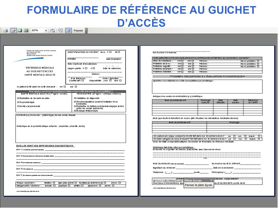 FORMULAIRE DE RÉFÉRENCE AU GUICHET D'ACCÈS