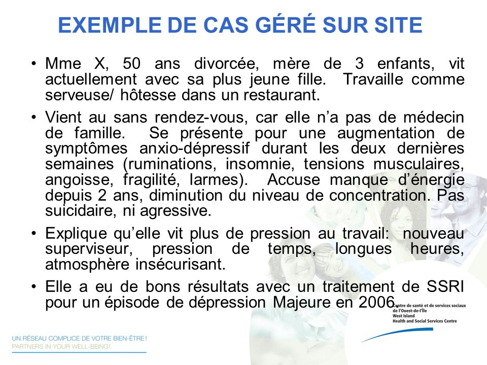 EXEMPLE DE CAS GÉRÉ SUR SITE