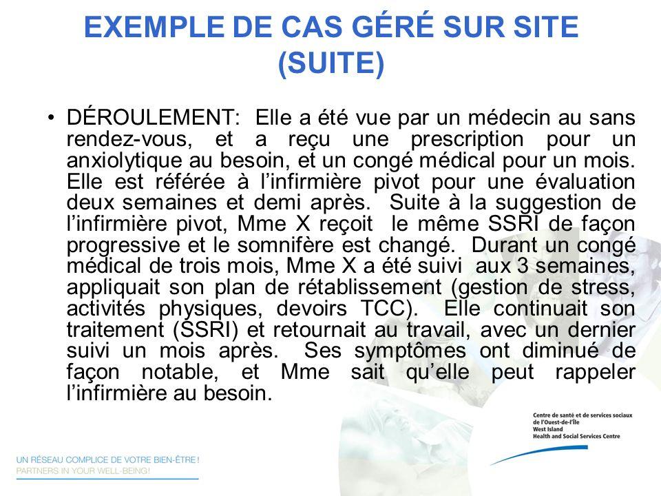 EXEMPLE DE CAS GÉRÉ SUR SITE (SUITE)
