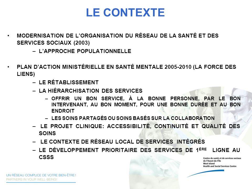 LE CONTEXTE MODERNISATION DE L'ORGANISATION DU RÉSEAU DE LA SANTÉ ET DES SERVICES SOCIAUX (2003) L'APPROCHE POPULATIONNELLE.