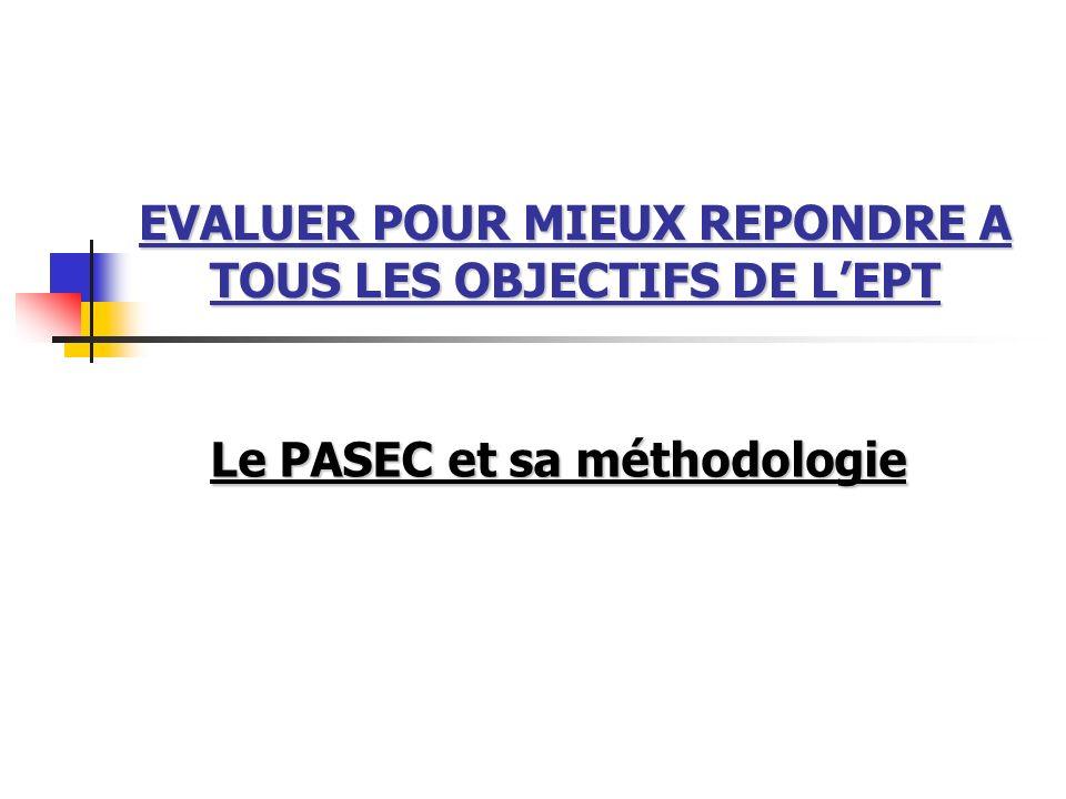 EVALUER POUR MIEUX REPONDRE A TOUS LES OBJECTIFS DE L'EPT
