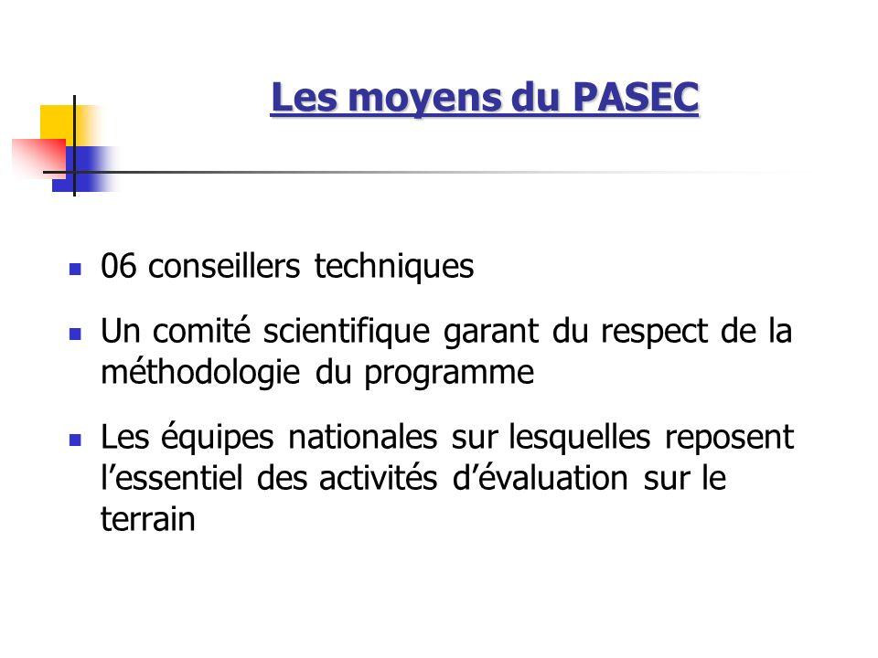 Les moyens du PASEC 06 conseillers techniques
