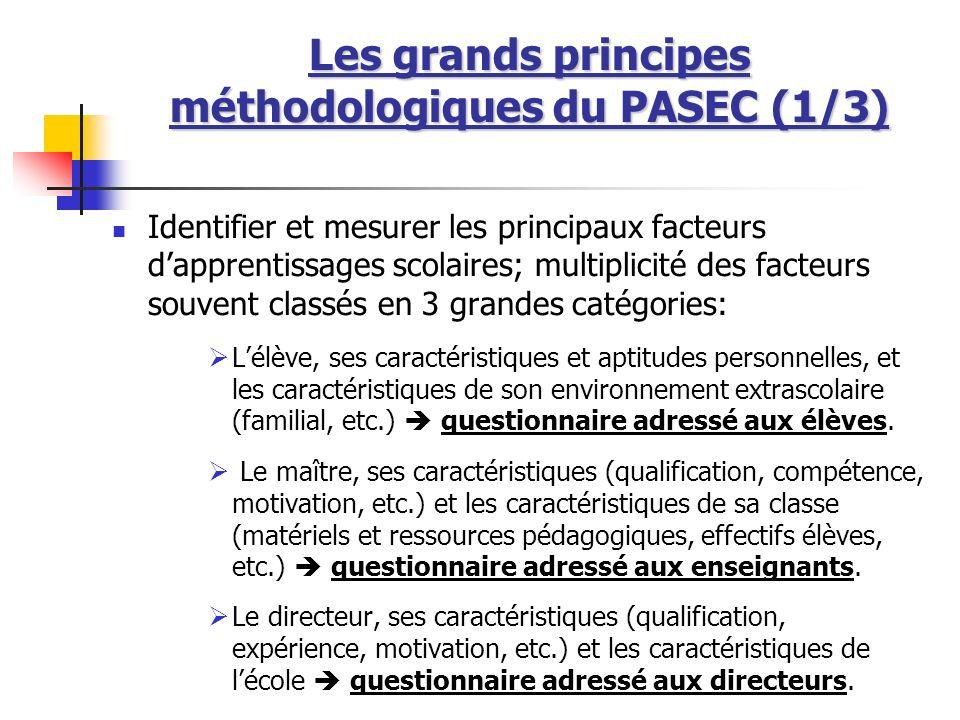 Les grands principes méthodologiques du PASEC (1/3)