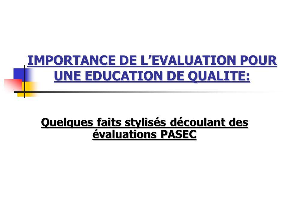 IMPORTANCE DE L'EVALUATION POUR UNE EDUCATION DE QUALITE: