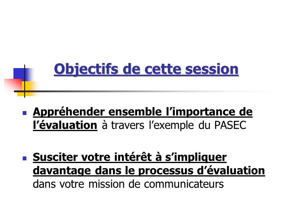 Objectifs de cette session