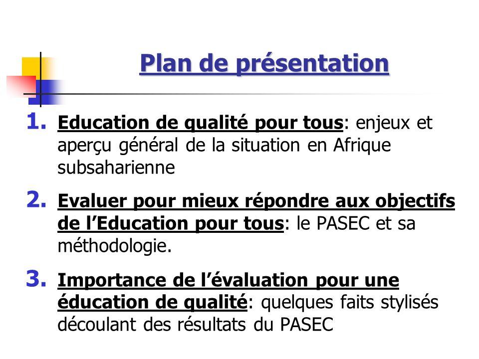 Plan de présentation Education de qualité pour tous: enjeux et aperçu général de la situation en Afrique subsaharienne.