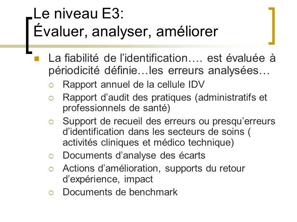 Le niveau E3: Évaluer, analyser, améliorer
