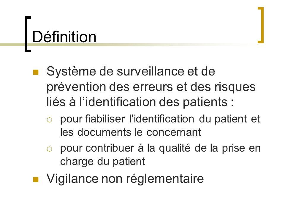 Définition Système de surveillance et de prévention des erreurs et des risques liés à l'identification des patients :