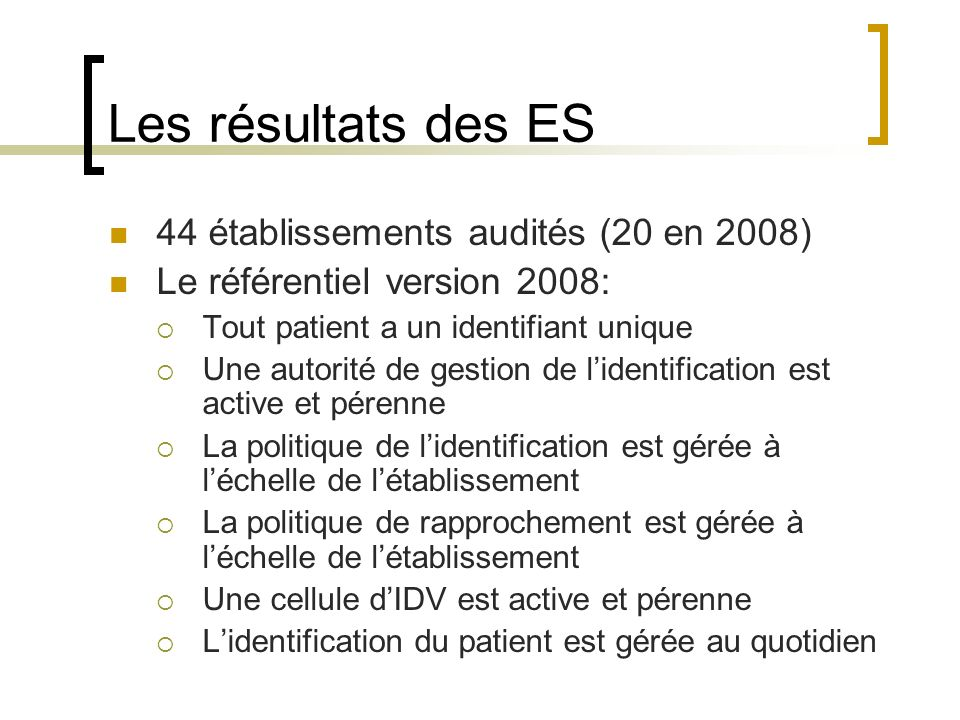 Les résultats des ES 44 établissements audités (20 en 2008)