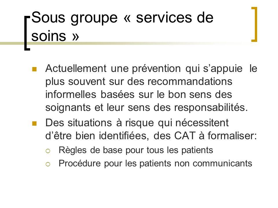 Sous groupe « services de soins »