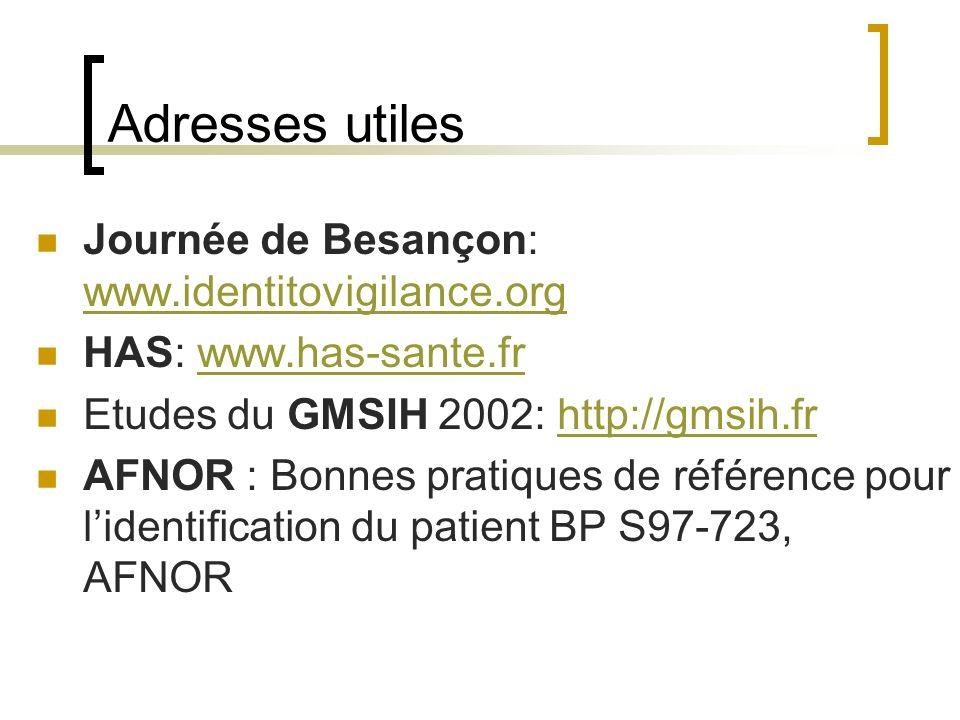 Adresses utiles Journée de Besançon: www.identitovigilance.org