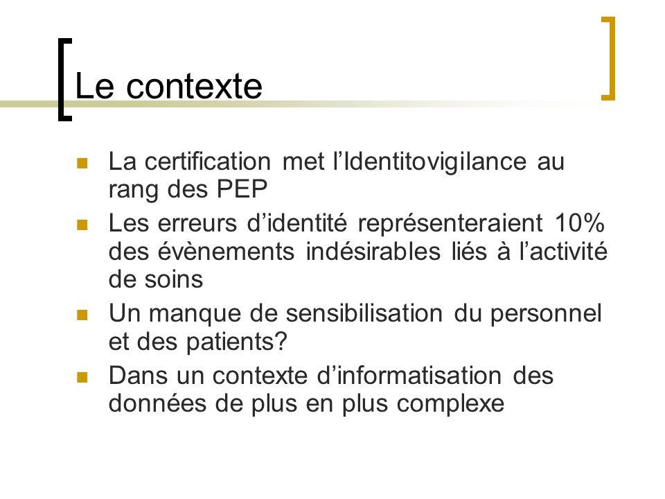 Le contexte La certification met l'Identitovigilance au rang des PEP