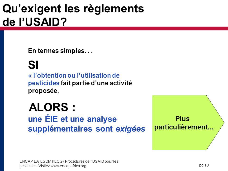 Qu'exigent les règlements de l'USAID