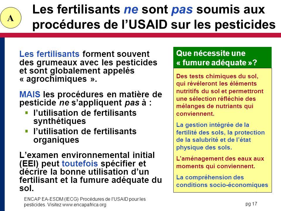 Les fertilisants ne sont pas soumis aux procédures de l'USAID sur les pesticides