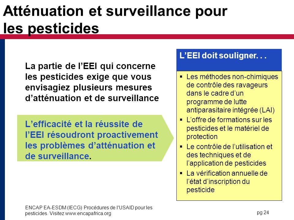 Atténuation et surveillance pour les pesticides