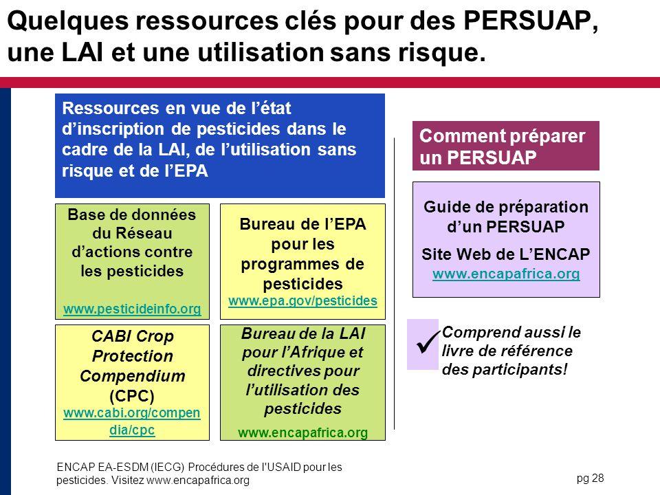 Quelques ressources clés pour des PERSUAP, une LAI et une utilisation sans risque.
