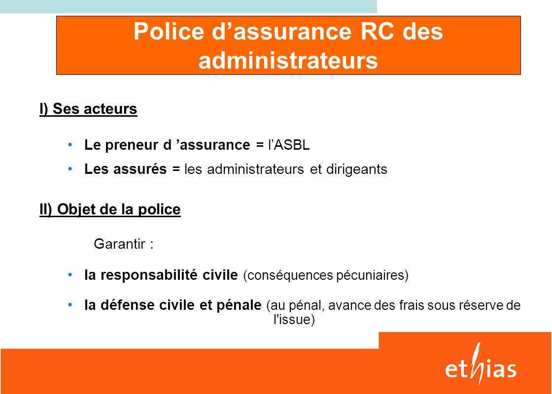 Police d'assurance RC des administrateurs