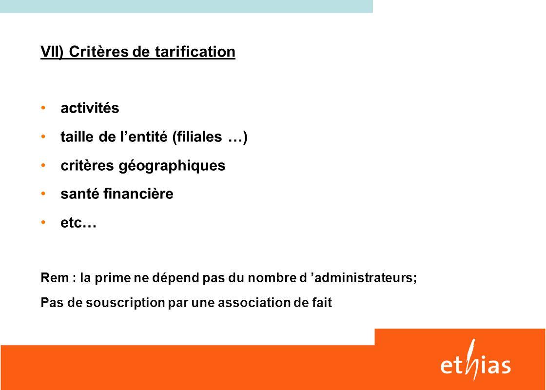 VII) Critères de tarification