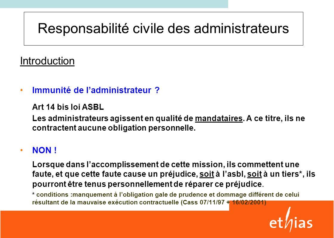 Responsabilité civile des administrateurs