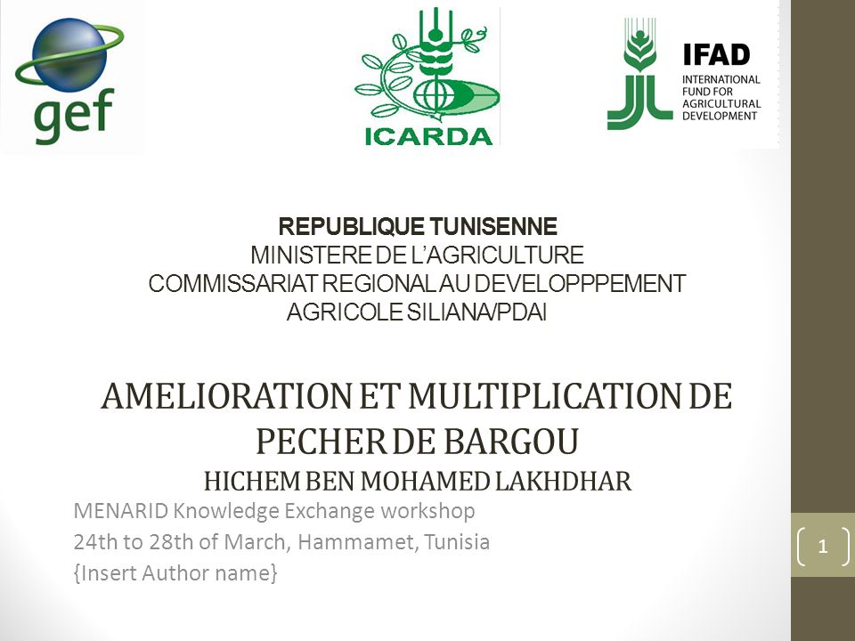 REPUBLIQUE TUNISENNE MINISTERE DE L'AGRICULTURE COMMISSARIAT REGIONAL AU DEVELOPPPEMENT AGRICOLE SILIANA/PDAI AMELIORATION ET MULTIPLICATION DE PECHER DE BARGOU HICHEM BEN MOHAMED LAKHDHAR