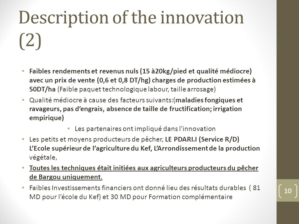 Description of the innovation (2)