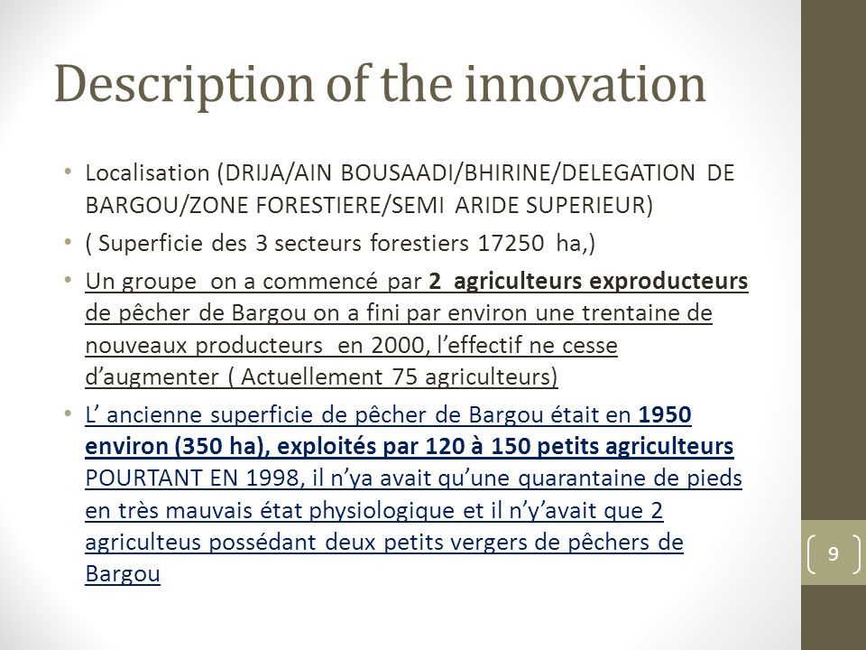 Description of the innovation