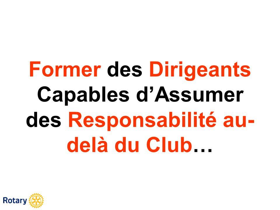 Former des Dirigeants Capables d'Assumer des Responsabilité au-delà du Club…
