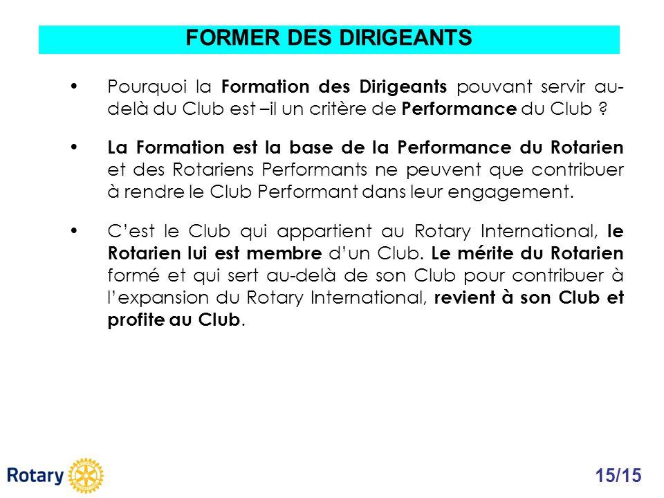 FORMER DES DIRIGEANTS Pourquoi la Formation des Dirigeants pouvant servir au-delà du Club est –il un critère de Performance du Club