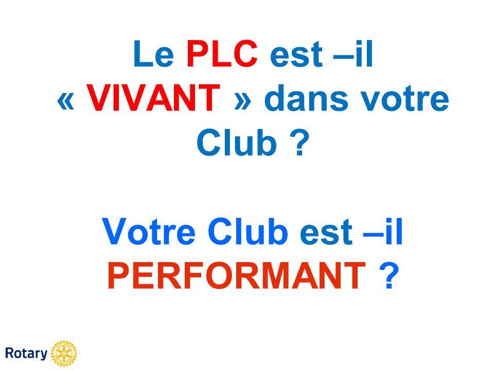 Le PLC est –il « VIVANT » dans votre Club