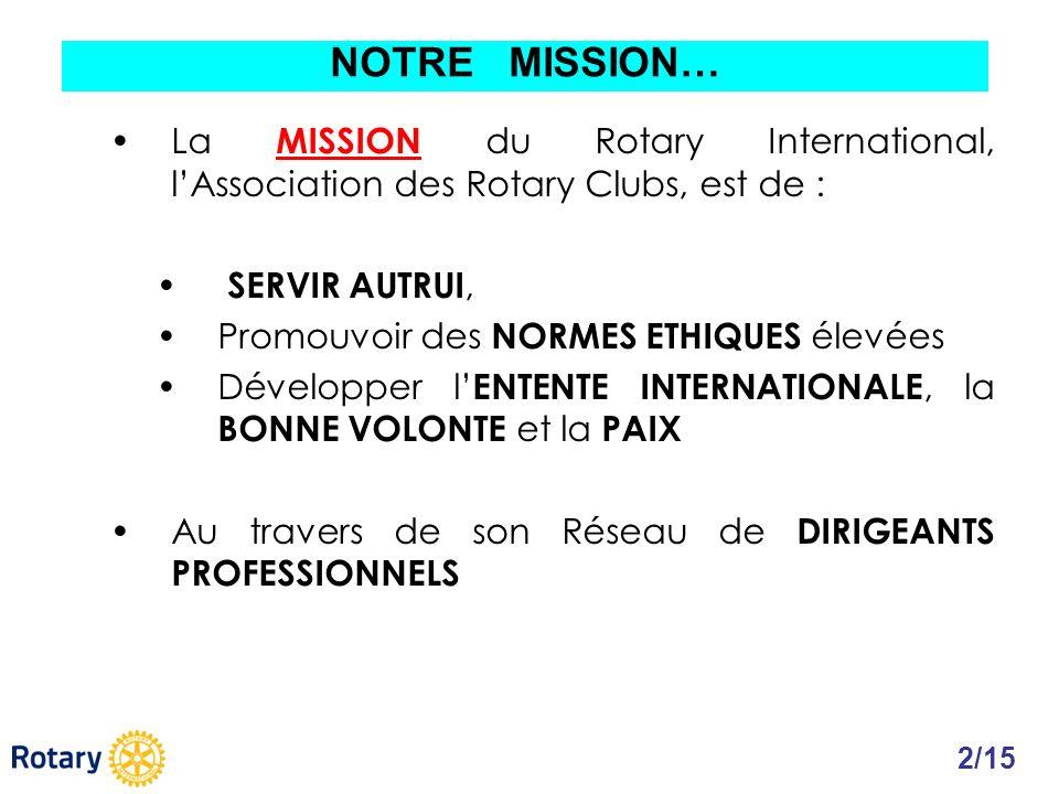 NOTRE MISSION… La MISSION du Rotary International, l'Association des Rotary Clubs, est de : SERVIR AUTRUI,
