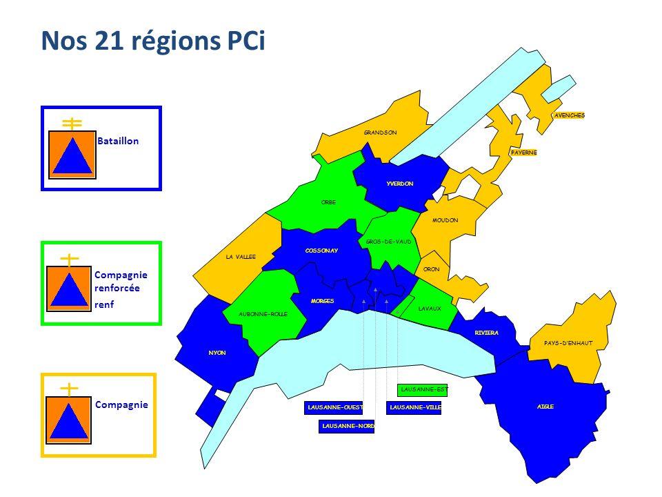 Nos 21 régions PCi Bataillon Compagnie renforcée renf Compagnie ORON