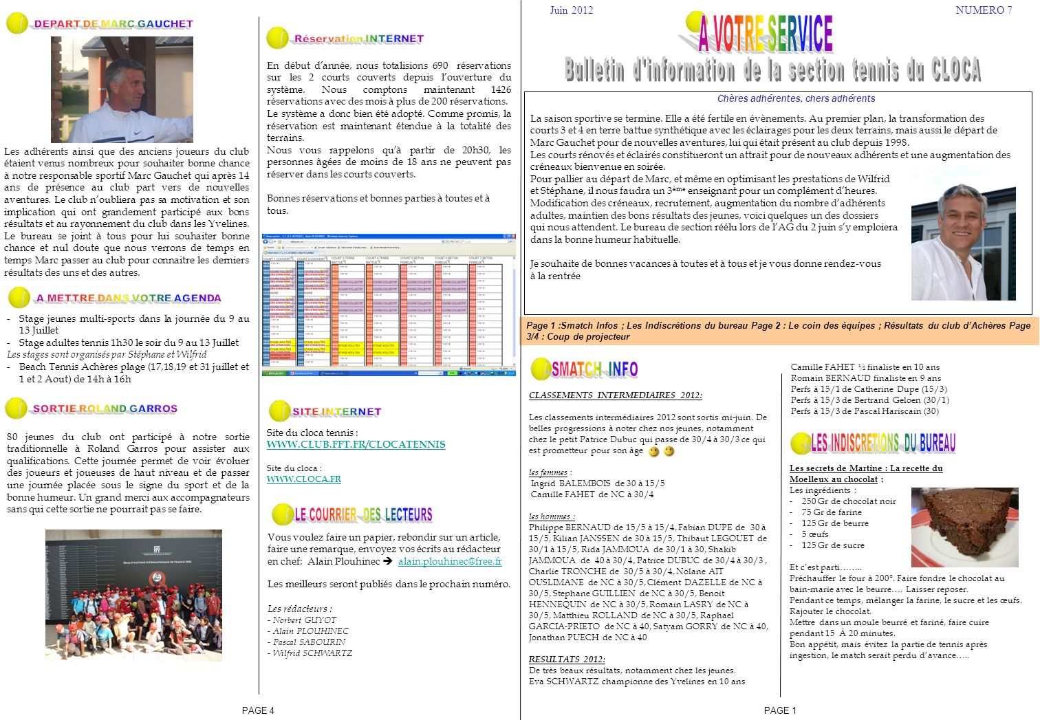 A V TRE SERVICE Bulletin d information de la section tennis du CLOCA