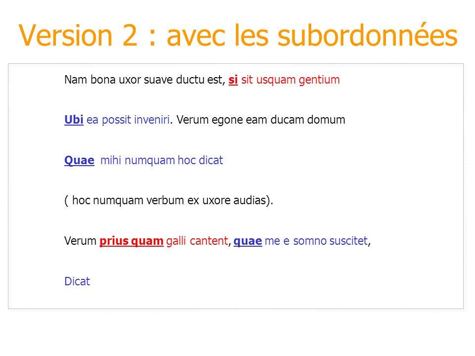 Version 2 : avec les subordonnées